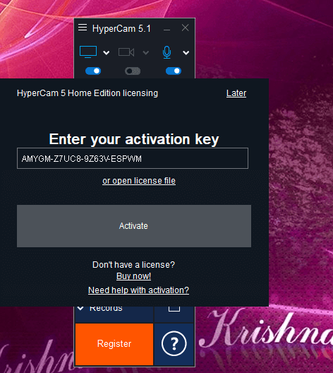 Hypercam 5 activation key
