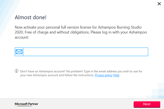 Ashampoo Burning Studio 2020 - activation window