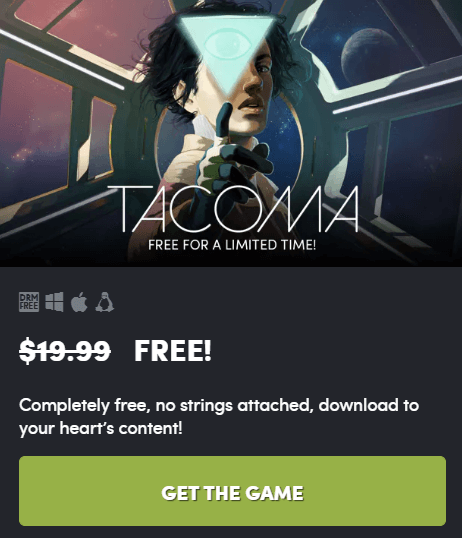 Tacoma PC Game Free for Limited Time -DRM FREE [Win, Mac & Linux]
