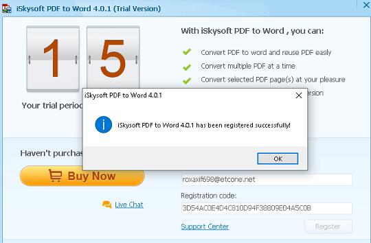 iSkysoft PDF to Word Converter license code