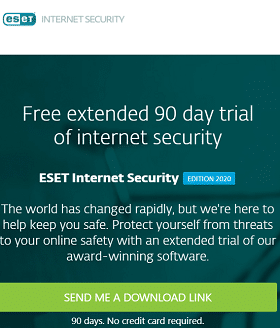 ESET Internet Security 2020 free 90 days trail