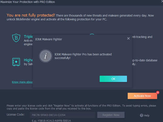 IObit Malware Fighter Pro license code