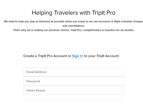 TripIt Pro free for six months