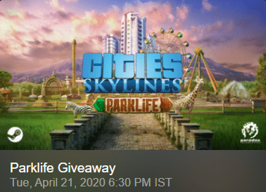 Cities Skylines Parklife DLC Giveaway