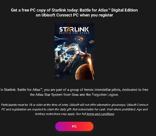 Starlink Battle for Atlas pc game giveaway