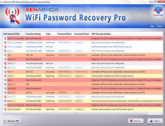 XenArmor WiFi Password Recovery Pro Interface (GUI)