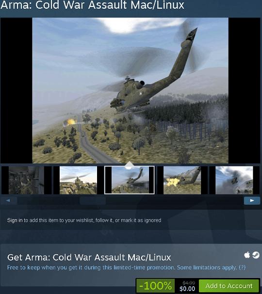 ARMA: Cold War Assault Free On Steam