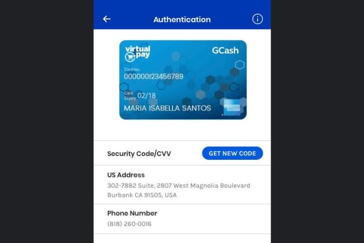 GCash AMEX Virtual Pay debit card