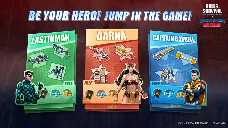Rules of Survival Darna, Captain Barbell, Lastikman