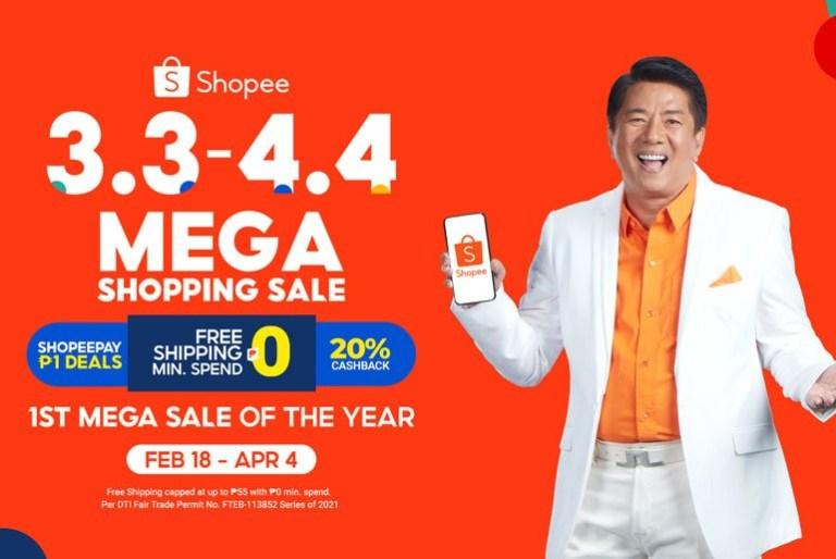 shopee 3.3 - 4.4 mega shopping sale