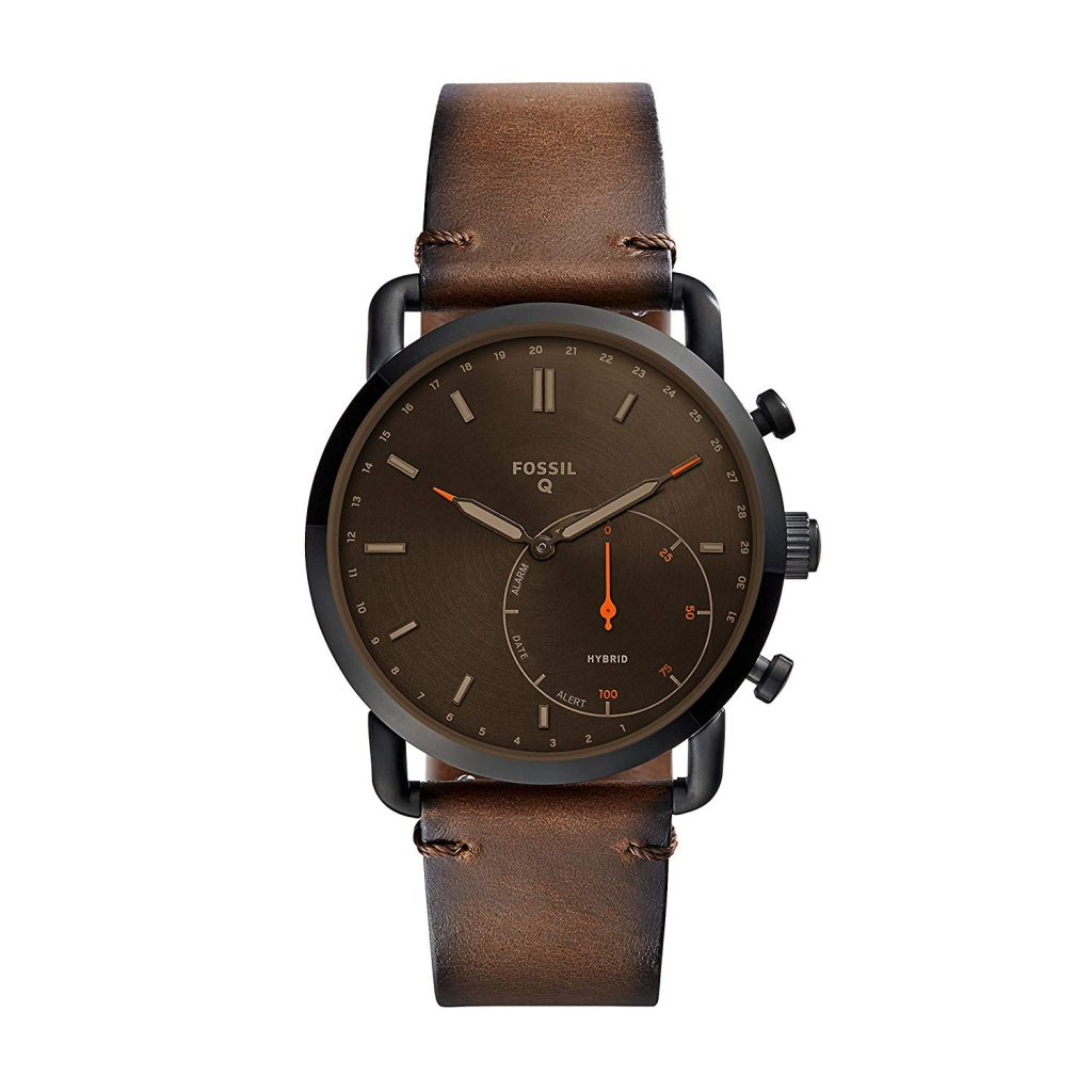Fossil Men's Commuter Stainless Steel Leather Hybrid Smartwatch