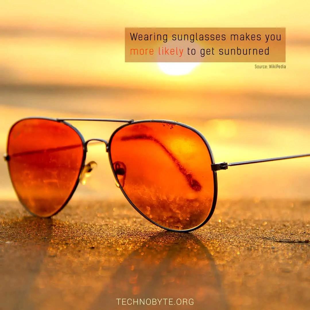 sunlight tanned sunburns interesting fact sunglasses