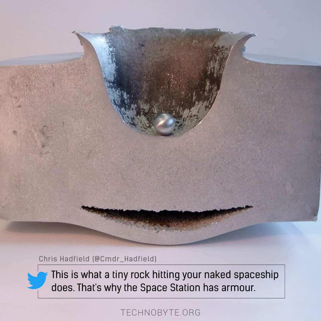 chris hadfield tweet - How does the International Space Station protect itself from space debris