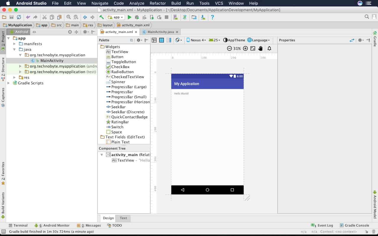 how to create interface in android studio
