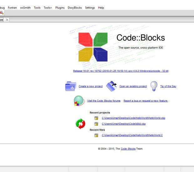 Code blocks IDE environment familiarization - checking code without creating a new project