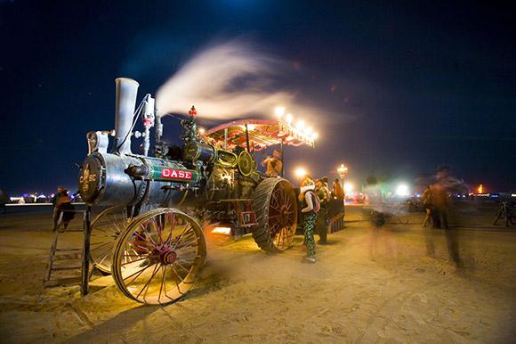 burning man steam punk train art car