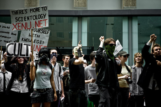 scientology protest pictures gas mask hello kitty