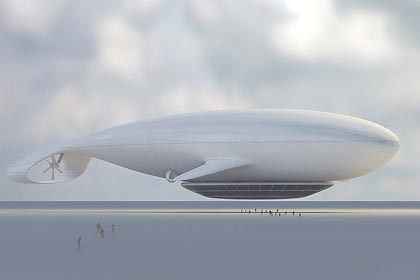 luxury airship hotel in the shape of a huge white whale