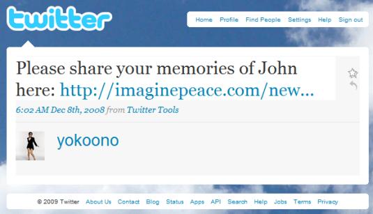Yoko Ono on Twitter