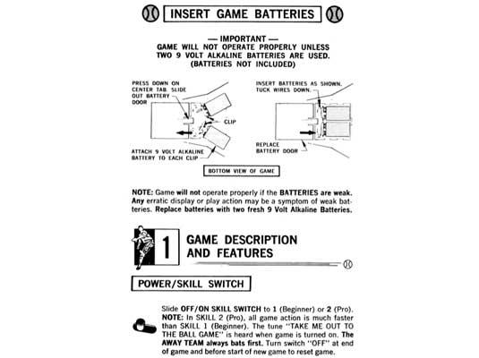 Coleco Baseball Manual