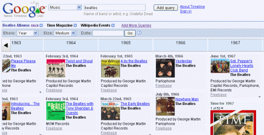 Google Timeline Search--Beatles