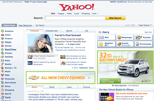 Old Yahoo Home Page