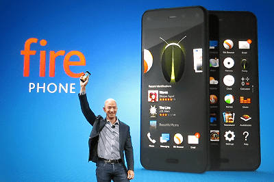 Jeff Bezos brandishes Amazon's Fire Phone at a media event in Seattle on June 18, 2014