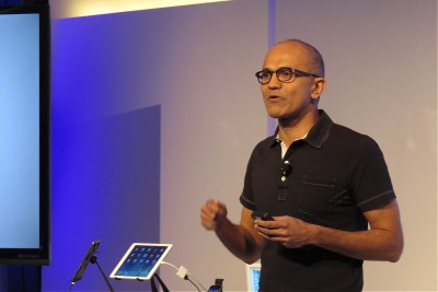 Satya Nadella announces Office for the iPad at an event in San Francisco on March 27, 2014