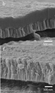 The top scanning electron microscope image (b) shows a cross section of the bioactive hydroxyapatite/YSZ coating without heat treatment. Note how the two layers are distinct. The bottom image (f) shows the coating after heat treatment. Note how the layers are now integrated.