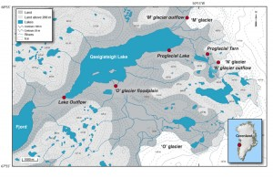 Research area: During the course of two expeditions to the Greenland ice sheet in May and July 2008, Bhatia and her colleagues collected samples from sites at three land-terminating glaciers. The meltwater from these glaciers travels through a flood plain and eventually drains into Qasigiatsigit Lake, before finally emptying into the fjord. (courtesy Maya Bhatia, Woods Hole Oceanographic Institution)