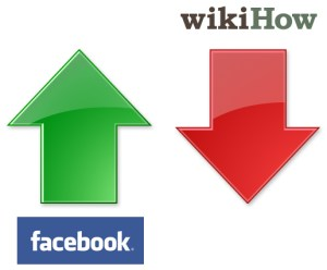 Facebook increase in rankings and wikiHow decrease in rankings