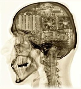 A head x-ray showing someone with a computer for a brain