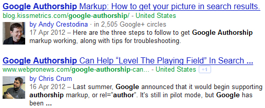 Examples of authors Google+ profiles in the SERPs