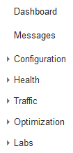 Webmaster Tools Options - Dashboard, Messages, Configuration, Health, Traffic, Optimization
