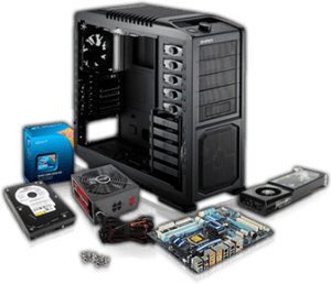 Computer parts and a computer case - a custom PC