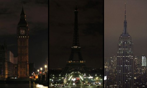 Big Ben Clock Tower, The Eiffel Tower and The Empire State Building with lights off for Earth Hour