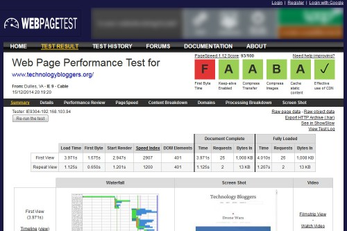 An analysis of TechnologyBloggers.org using the WebPageTest tool