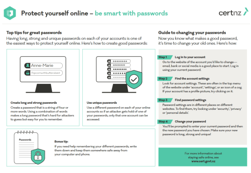 Guide to good password by CERTNZ