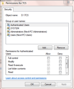 Set Folder and file permissions for Users in windows 7