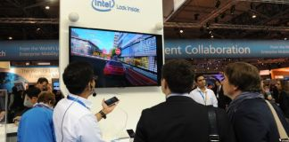 Overall photo of Intel Booth at Mobile World Congress 2014. (Photo by Intel, Bob Riha, jr.)