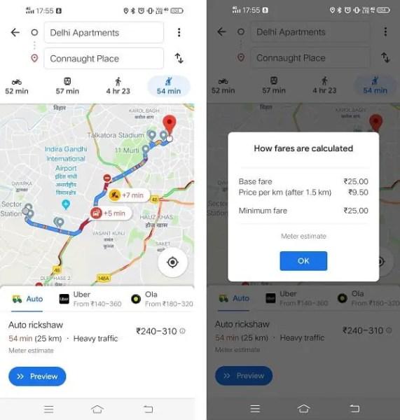 Delhi Auto Fare Calculator in Google Maps
