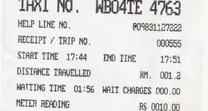 Taxi Meter Reciepet