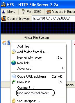 Add HFS Bind Folder