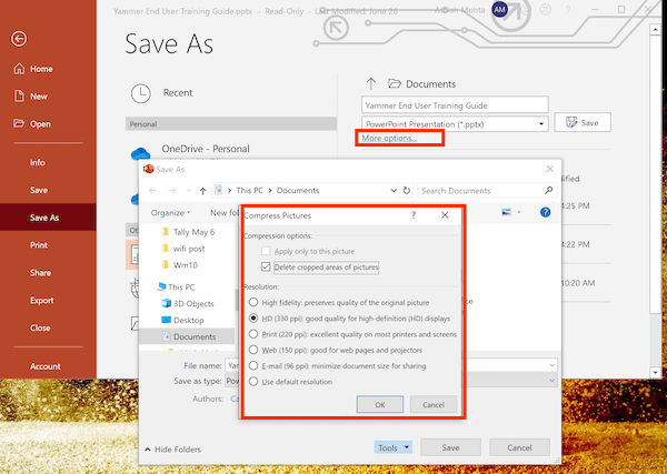 Change Compression Type in PowerPoint