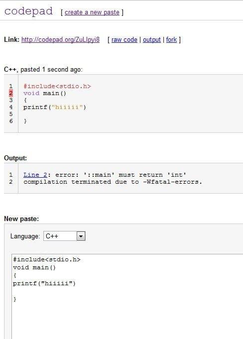 CodePad Output