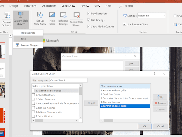 Custom Slide Show Windows Office PowerPoint