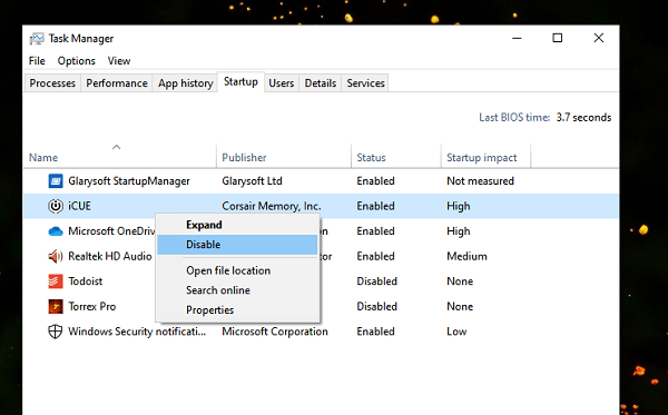 Disable Startup Program using Task Manager