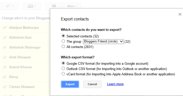 How to export only Name Email and Phone number from Google Contacts