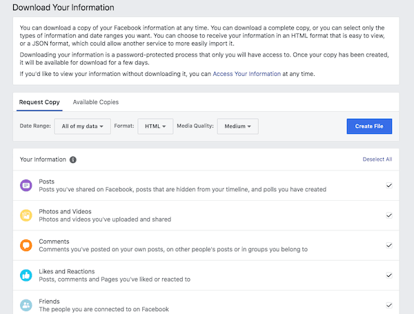 How to backup Facebook Data or Archive Facebook Activities