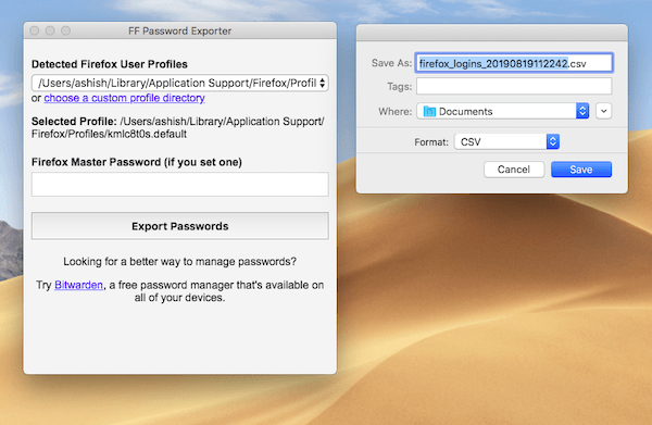 Firefox Export username password